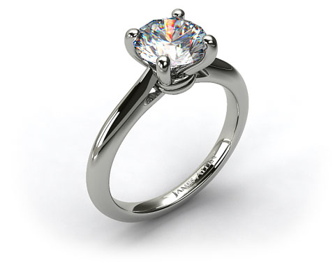 18k White Gold Double Bevel Knife Edge Engagement Ring